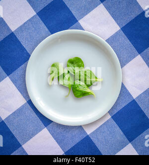 Diet Concept Of Salad Leaves On Empty Plate - Stock Photo