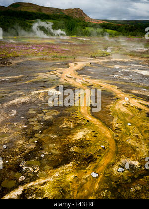 Steam rising from hot springs near a Geysir in an area of geothermal activity - Stock Photo