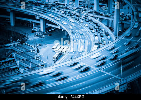 heavy traffic on viaduct - Stock Photo