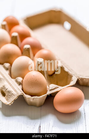 Business concept of thinking outside the box illustrated by eggs. - Stock Photo