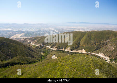 The view over San Bernardino from Hwy 18 on a clear, hot summer's day in Los Angeles, California, USA - Stock Photo