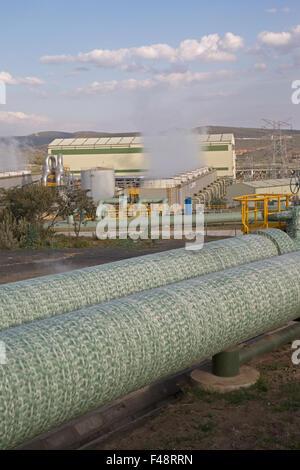 Olkaria 280MW geothermal energy plant Hell's Gate Rift Valley Kenya - Stock Photo