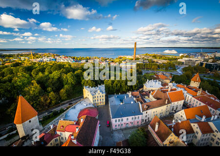 View of the Old Town and the Baltic Sea from St. Olaf's Church Tower, in Tallinn, Estonia. - Stock Photo