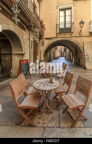 Street Cafe Girona Catalonia Spain - Stock Photo