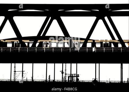 Subway on a railway bridge - Stock Photo
