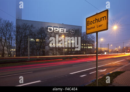 Opel factory with town sign, Bochum, Germany - Stock Photo