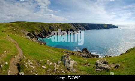 South West Coast path, Lizard Peninsula, Cornwall, England, UK - Stock Photo