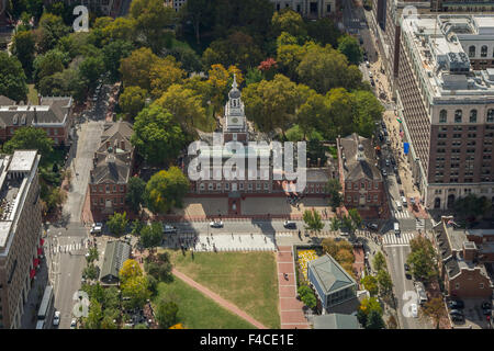 Aerial View Of Independence Hall, Philadelphia, Pennsylvania, USA - Stock Photo