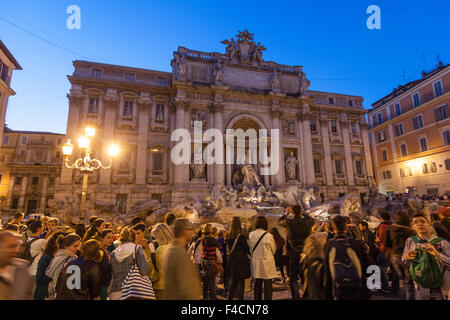 Tourists at Trevi Fountain, Rome, Italy - Stock Photo