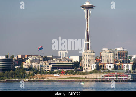 USA, Washington State, Seattle. Sculpture Park, Space Needle and waterfront provide dramatic vista from Parasail - Stock Photo