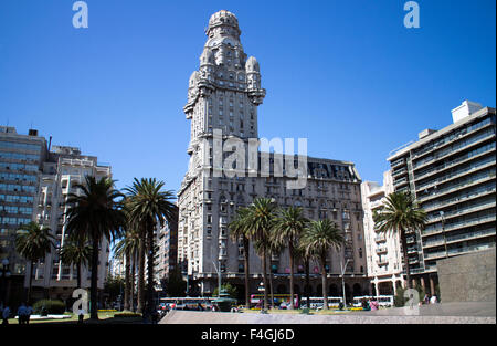 Salvo Palace from Independence Plaza in Montevideo, Uruguay - Stock Photo