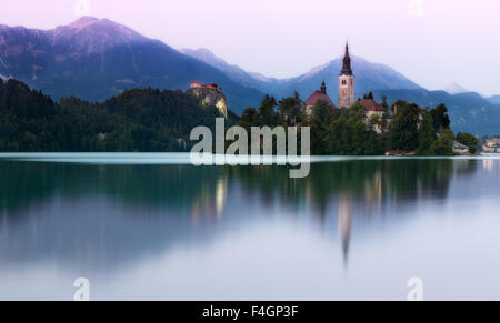 Lake Bled in evening light, Slovenia - Stock Photo