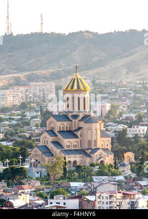 The Holy Trinity Cathedral of Tbilisi (aka Tsminda Sameba cathedral) the main cathedral in Tbilisi, the capital - Stock Photo