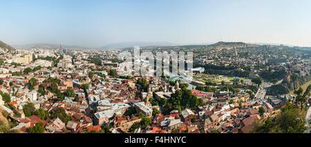Panoramic view across Tbilisi, the capital of Georgia. - Stock Photo