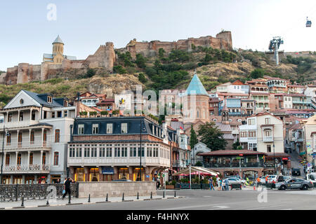 View of Narikala fortress and the old town in Tbilisi, the capital of Georgia. - Stock Photo
