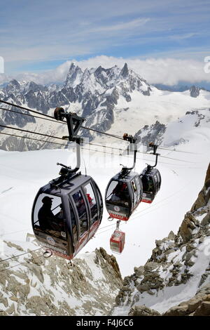 Cable cars approaching Aiguille du Midi, Mont Blanc Massif, Chamonix, French Alps, Haute Savoie, France, Europe - Stock Photo