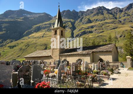 St. John the Baptist's church and graveyard, Bessans, Savoie, France, Europe - Stock Photo