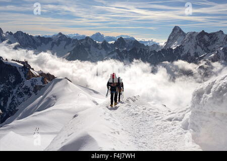 Mountaineers and climbers, Aiguille du Midi, Mont Blanc Massif, Chamonix, French Alps, Haute Savoie, France, Europe - Stock Photo