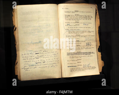A rare film script used by Trevor Howard on display at The Third Man Film Museum in Vienna, Austria. - Stock Photo