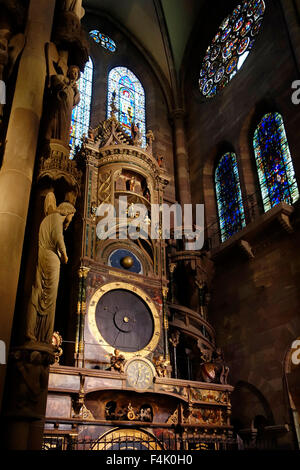 Astronomical clock in the Cathedral of Our Lady of Strasbourg / Cathédrale Notre-Dame de Strasbourg, Alsace, France - Stock Photo