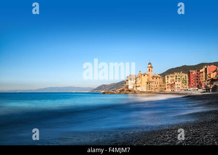 Colorful buildings on the waterfront at Camogli on the Portofino peninsula, Genoa, Italy, a small fishing village - Stock Photo