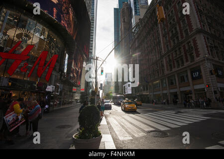 Early morning light on 42nd Street in Midtown Manhattan, New York City USA - Stock Photo