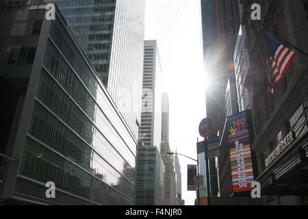 Early morning light on 42nd St in New York City USA - Stock Photo