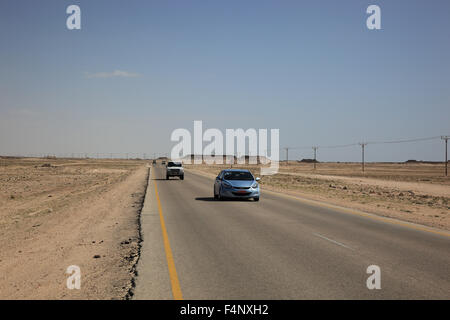'Lonely road through the ''Empty Quarter'', ar-Rub 'al Khali, Oman' - Stock Photo