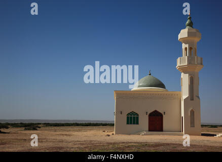 Little Mosque on the lonely road through the Empty Quarter, ar-Rub 'al Khali, Oman' - Stock Photo