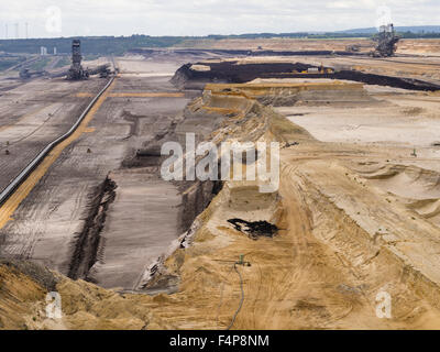 Bucket-wheel excavators in the cratered landscape of the surface mining field at Garzweiler, Germany's largest opencast - Stock Photo