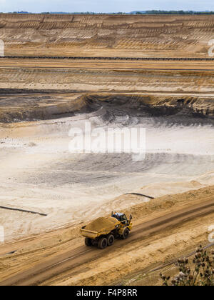 Cratered landscape of the surface mining field at Garzweiler, Germany's largest opencast pit for lignite extraction. - Stock Photo