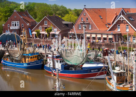 Crab cutters in the harbour of  Neuharlingersiel, East Friesland, Lower Saxony, Germany, Europe - Stock Photo