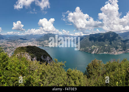 Switzerland, Europe, Lugano, Ticino, Panoramic view, Monte San Salvatore, landscape, water, summer, mountains, lake, - Stock Photo