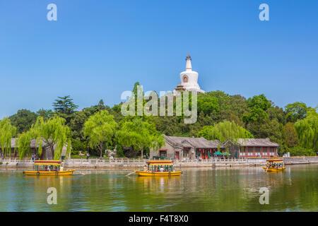 China, Beijing, Peking, City, Beihai Lake, Beihai Park, White Dagoba - Stock Photo