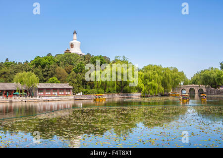 China, Beijing, Peking, City, Beihai Lake, Beihai Park, White Dagoba - Stock Photo