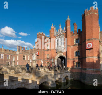 Europe, UK, England, London, Hampton Court west front moat - Stock Photo