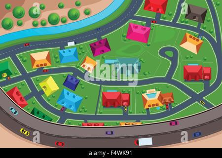 A vector illustration of houses in suburban viewed from above - Stock Photo