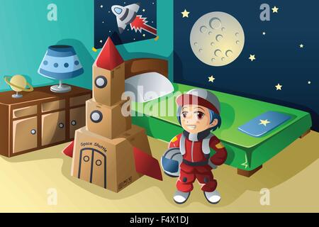 A vector illustration of kid dressed in astronaut costume - Stock Photo