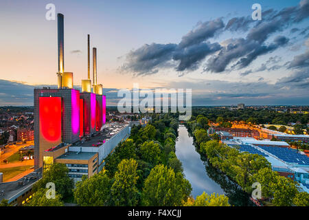 Aerial view of the Linden power station in Hannover, Germany - Stock Photo