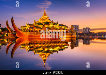 Yangon, Myanmar at Karaweik Palace in Kandawgyi Royal Lake. - Stock Photo