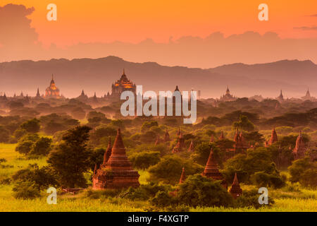 Bagan, Myanmar archeological zone. - Stock Photo