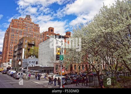 NEW YORK, USA - APRIL 24, 2015: Intersection of 10th Avenue and 22nd Street in Chelsea near Clement Clarke Moore - Stock Photo