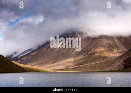 India, Himachal Pradesh, Spiti, Chandra Taal, Full Moon Lake shore early morning - Stock Photo