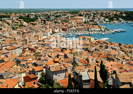 Old town and harbor of Rovinj seen from the bell tower of Saint Euphemia's basilica, Istria, Croatia - Stock Photo