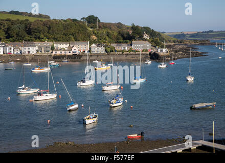Yachts at moorings on River Fal, Flushing, Cornwall, England, UK - Stock Photo