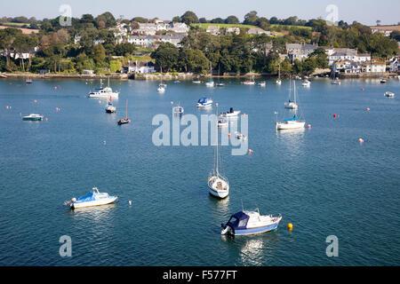 Yachts at moorings on River Fal, Flushing, Cornwall, England, UK - Stock Photo