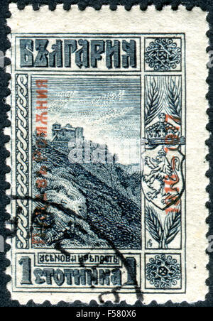 Postage stamp printed in Bulgaria, show Ruins of the Castle of Tsar Assen (overprint 1916, Occupation of Romania), - Stock Photo
