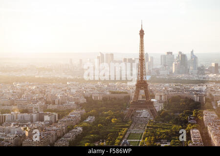 beautiful view of Paris with Eiffel tower - Stock Photo