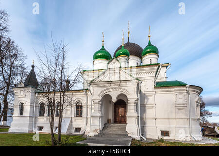 Pereslavl-Zalessky, Russia - October 29, 2015: Feodorovsky convent. Theodore Stratelates's cathedral, is constructed - Stock Photo