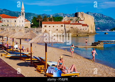 Montenegro, Adriatic coast, old city of Budva, Stari Grad - Stock Photo